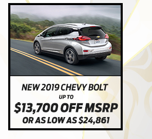 New 2019 Chevrolet Bolt EV*Up to $11,900 off MSRPOr As low as $26,998
