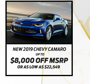 New 2019 Chevrolet Camero*Up to $7,600 off MSRPOr As low as $21,317