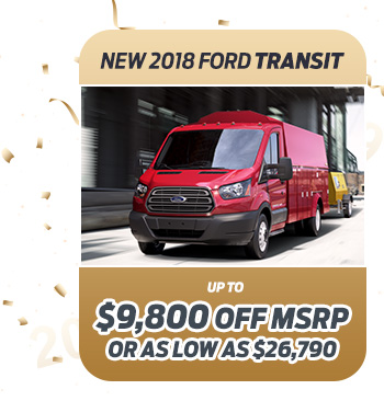 New 2018 Ford Transit                              Up to $9,800 off MSRP                                                          Or as low as $26,790