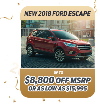 New 2018 Ford Escape                              Up to $8,800 off MSRP                                                          Or as low as $15,995